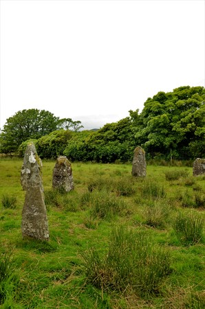A view of the ancient standing stone circle near the shore of Loch Buie on the isle of Mull