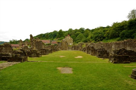 A view of the extensive ruins of the medieval Rievaulx abbey in North Yorkshire Stock Photo