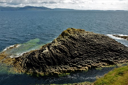 A view of the prehistoric volcanic geological rock formations on the Scottish Island of Staffa