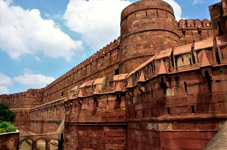 A view of the architectural detail of the Agra Fort in India 版權商用圖片