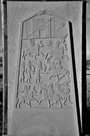 A modern copy of one of the Aberlemno Pictish sculptured stones in Angus