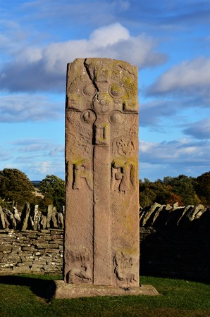 A view of one of the Aberlemno sculptured Pictish stones in Angus, Scotland