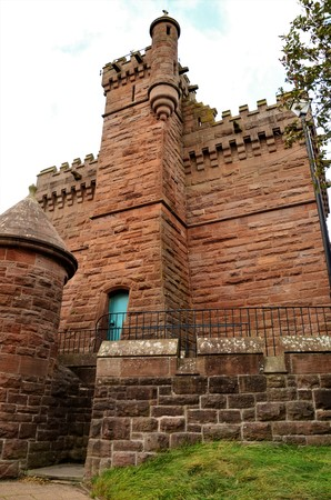 A view of a large stone water tower in the Angus town of Arbroath