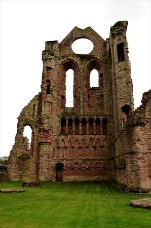A view of the medieval and historic ruined abbey in the Angus town of Arbroath Stock Photo
