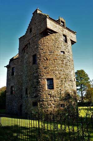 An exterior view of the medieval stone castle at Claypotts in Dundee