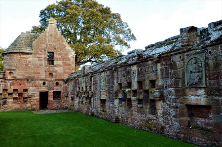 A view of the architecture of the ruins of Edzell castle
