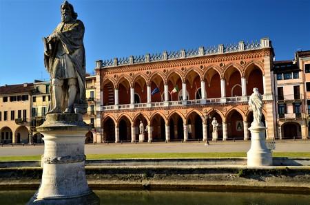 A view of the statuary and architecture of the Prato della Valle Piazza in Padova.
