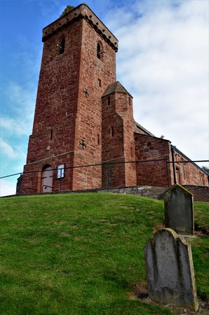 An exterior view of an old church building at St. Vigeans village near Arbroath in Scotland