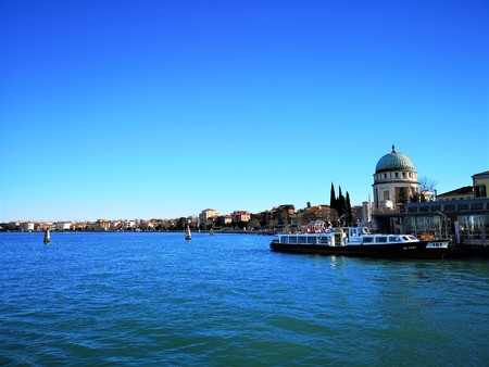 An exterior view of the architecture and landmarks of the Italian city of Venice.