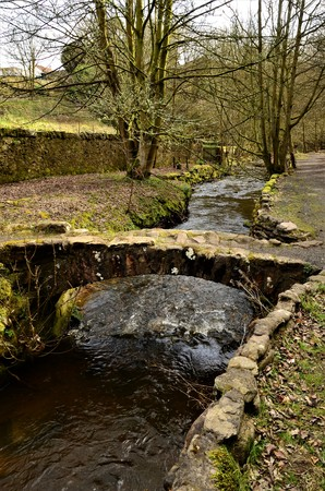 A view of a stone bridge crossing the Kennoway burn in Fife