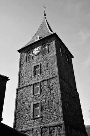 An exterior view of the old tolbooth tower in the town of Coupar Angus in Scotland