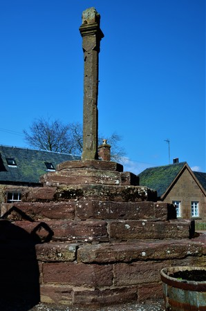 A view of the Mercat cross in the village of Fettercairn in Aberdeenshire