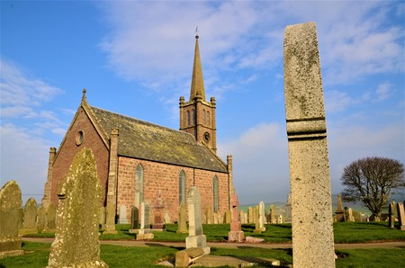 An exterior view of a church building in St. Cyrus in Aberdeenshire