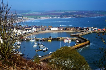 A view over the harbour in the fishing town of Stonehaven in Aberdeenshire