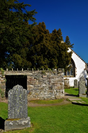 A view of the old church building and 5000 year old Yew tree at Fortingall in rural Perthshire.