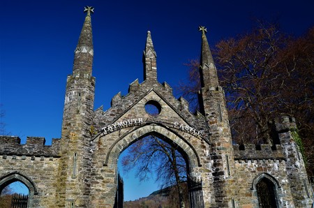 A view of the old stone entrance gateway at Taymouth Castle in Kenmore in rural Perthshire. Editorial