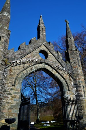 A view of the old stone entrance gateway at Taymouth Castle in Kenmore in rural Perthshire. Sajtókép