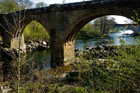 A view of the Devils bridge and River Lune in Kirkby Lonsdale in Cumbria