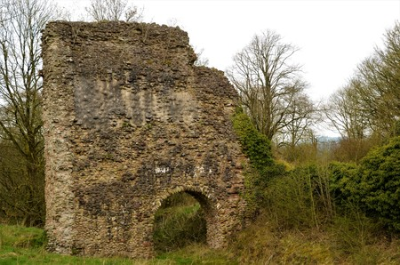 A view of the ruins of the medieval Lochmaben castle in the Scottish Borders