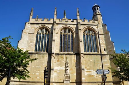 An exterior view of the architectural detail of the Eton College and chapel buildings