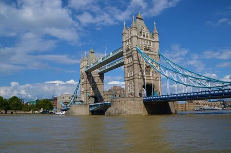 A view of the iconic Tower bridge across the river Thames in London