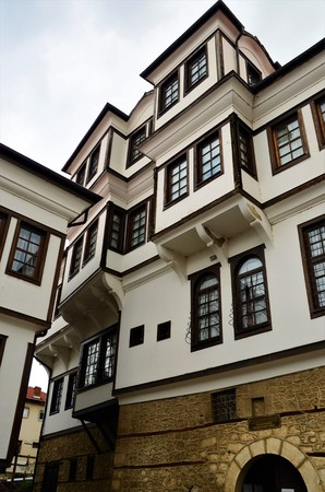 An exterior view of a traditional style house, now a museum in the lakeside town of Ohrid in North Macedonia