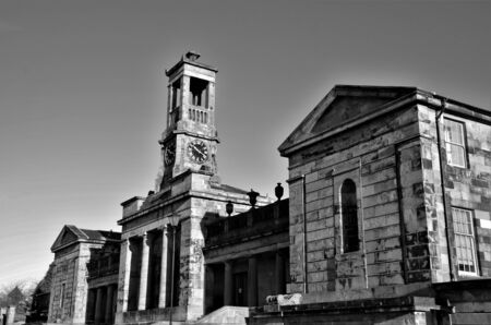An external view of architectural style of the academy building in the west Lothian town of Bathgate in Scotland. Stock Photo