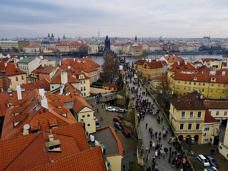 A view over Charles Bridge and the surrounding buildings in the Czech city of Prague