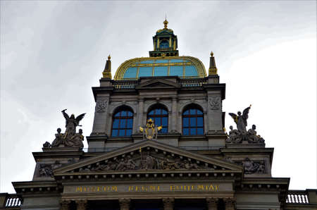 A view of the architectural detail of a museum building in the Czech city of Prague. Editorial