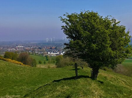 A view of the central Fife landscape from the slopes of Hill of Beath in Fife. Stock Photo