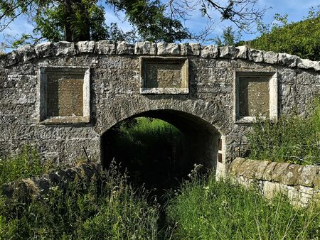 A view of the architectural detail of the ancient old stone bridge at Parenwell which is of local historical interest due to Mary Queen of Scots having been here. Stock fotó