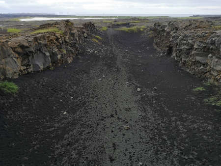 A view of the geological fault line which divides the North American and Eurasian tectonic plates in the Rekjanes Peninsula in Iceland