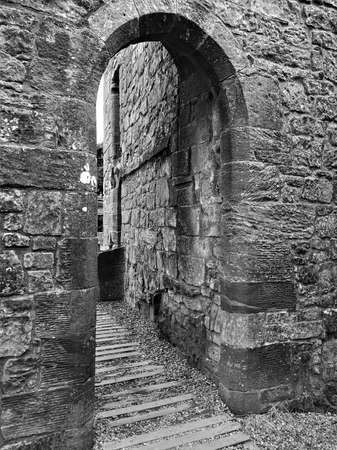 A view of the architectural detail of the ruins of Mugdock Castle in Mugdock country park near Glasgow in Scotland.