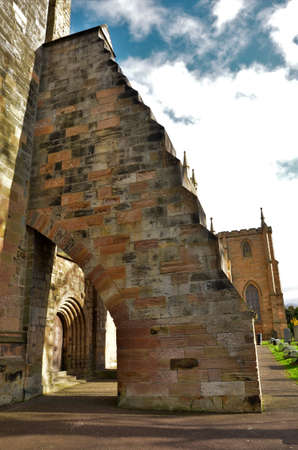 Views of the historic ancient stone abbey and church buildings in Dunfermline, Scotland