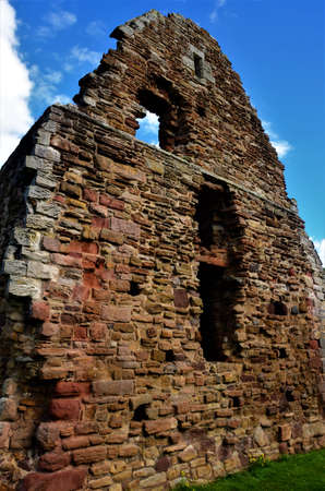 An exterior view of the ruins of a medieval old stone Church building in the town of Haddington in Scotland