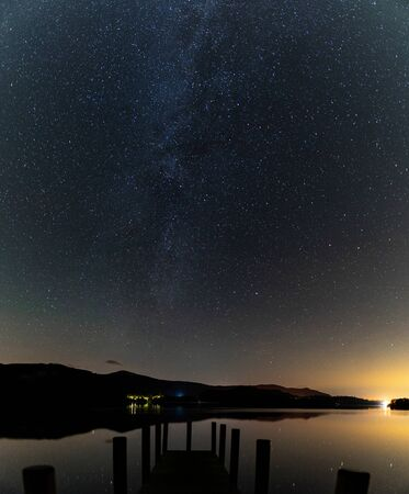 A view from ashness Jetty with the milky way rising over derwent water