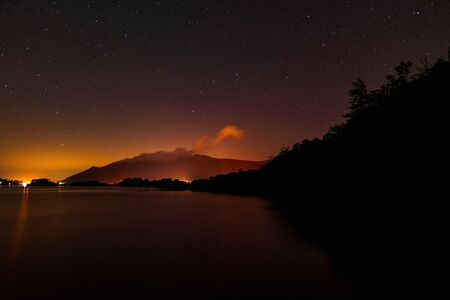 Derwent water from Ashness jetty with the plough in the night sky