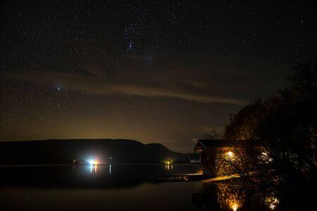 Orion rising over Ullswater & the Duke of Portland boathouse