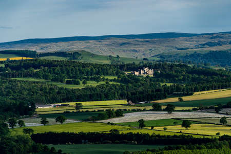 A view from Penrith Beacom looking towards Lowther Castle Stock Photo