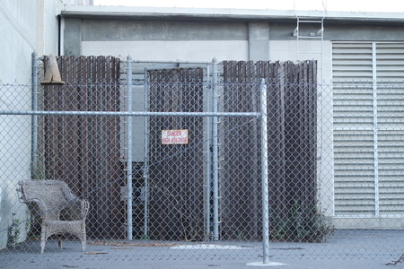 abandoned warehouse: Hunters Point Shipyard Stock Photo