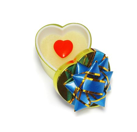 opened heart-shaped gift box with red heart inside isolated on white with clipping path