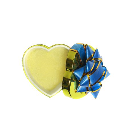 opened empty goldish heart-shaped gift box with space for gift