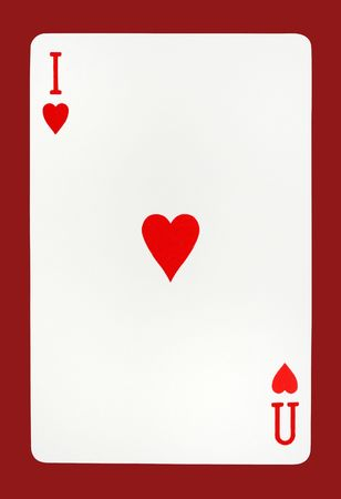 playing card saying I Love You made basing on ace