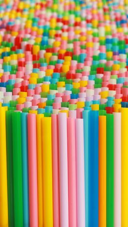 Queue concept. Colorful drinking straws pattern with space for design elements Stock Photo