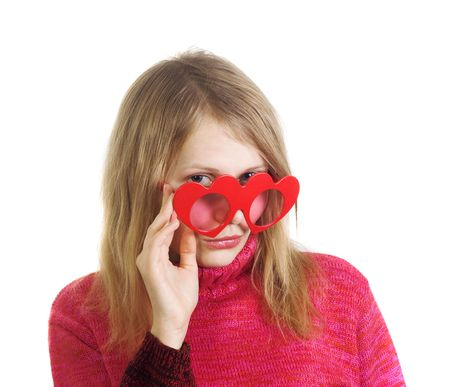 Mysterious blonde lady flirting, wearing heart-shaped glasses. Image all in red colors isolated on white background