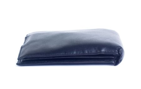 Thin old leather wallet isolated on white