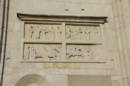 gothic build: Bas relief Ghirlandina Modena Stock Photo