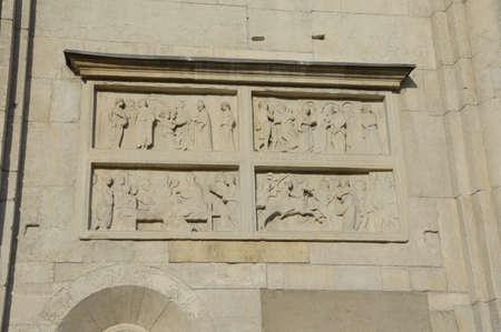 bas relief: Bas relief Ghirlandina Modena Stock Photo