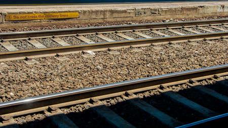 do not cross: Do not cross the railway lines! Stock Photo