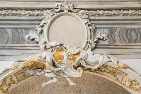 low angles: Church architecture detail of an angel, catholic frame